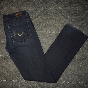 7 for All Mankind Straight Leg Crystal Jeans